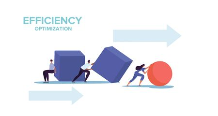 Smart business and efficiency concept with two businessmen struggling to push cubes while a businesswoman races ahead pushing a sphere, colored vector illustration