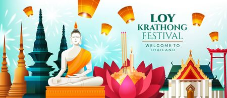Panorama banner celebrating Loy Krathong