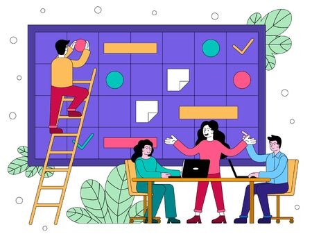 Business team developing a plan or strategy together in a brainstorming meeting with information board in the background, colored vector illustration