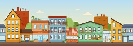 Panorama banner of a row of colorful facades of buildings in city under a sunny blue sky, colored vector illustration