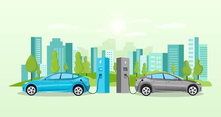Alternative fuel concept with electric cars charging at charging points in front of a cityscape with skyscrapers, colored vector illustration