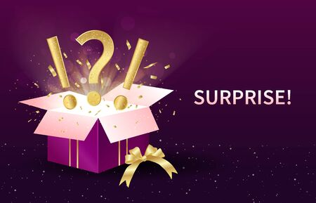 Surprise or Gift concept with open festive box