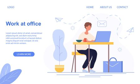 Work At The Office concept with businessman