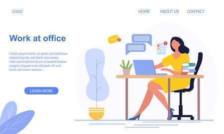 Work At The Office concept with businesswoman Ilustração