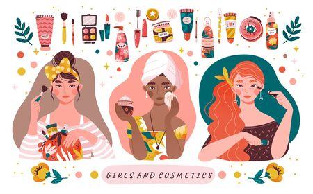 Three diverse beautiful girls applying makeup 向量圖像