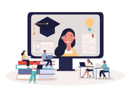 Online student webinar or e-learning concept
