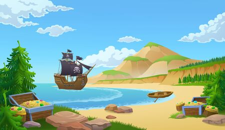 Pirate ship in a bay with trunks of treasure