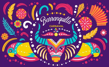 Colorful poster of Colombian Barranquilla Carnival