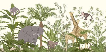 Dschungeltiertapete mit tropischer Vegetation