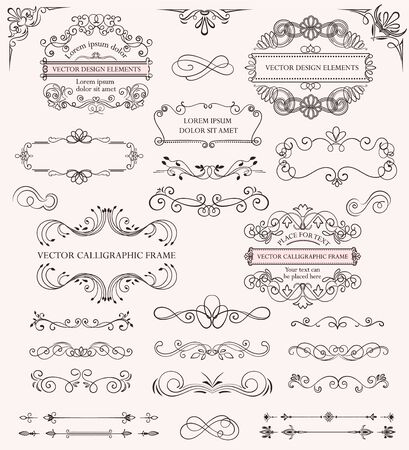 Set of different calligraphic frames and patterns