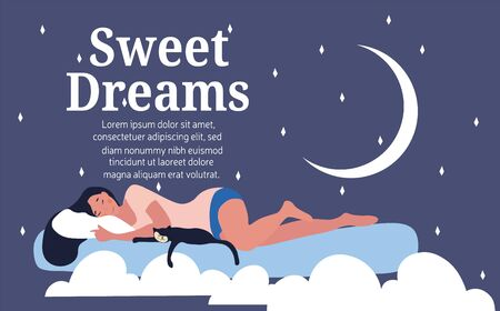 Sweet dreams concept with woman on a cloud Vector Illustratie