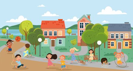 Houses in a city with happy children playing Vectores