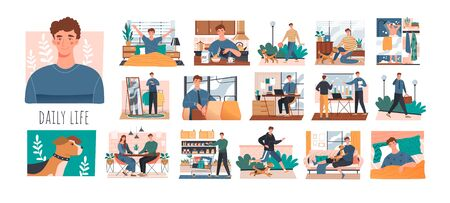 Series of sequential scenes showing the daily life of a young man from waking up to going back to bed at night, colored vector illustration