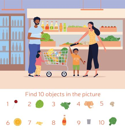 Kids Picture Puzzle to find 10 listed objects
