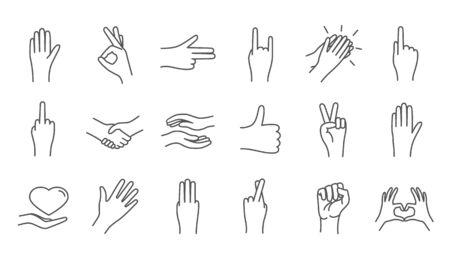 Large set of line drawn hand icons Illusztráció