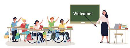 Disabled children in class with a teacher