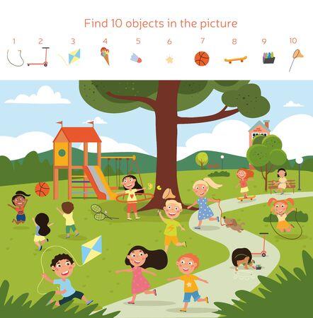 Happy children playing together in a green park Ilustración de vector