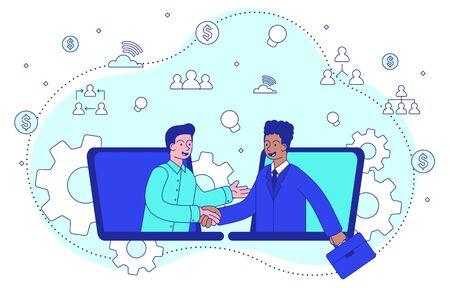 Businessmen shaking hands on a deal