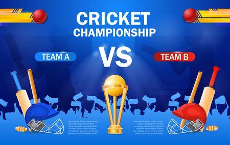 Cricket championship poster template Иллюстрация