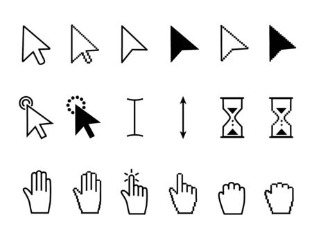 Assorted black and white cursor icons with arrows, pointers, hourglass and hands for use as design elements, vector illustration Illustration