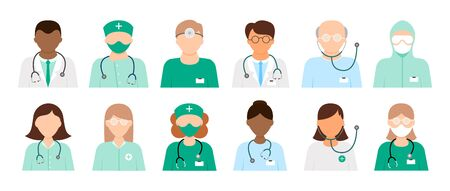 Set of 12 different diverse doctor icons in lab coats and scrubs with and without stethoscopes isolated on white, colored vector illustration