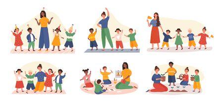 Six designs of young kids in kindergarten class 일러스트