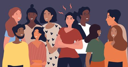 Angry woman in a gathering of diverse people standing in the middle of the smiling group with folded arms fuming, colored vector illustration