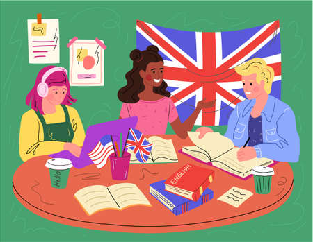 Students learning American and British English