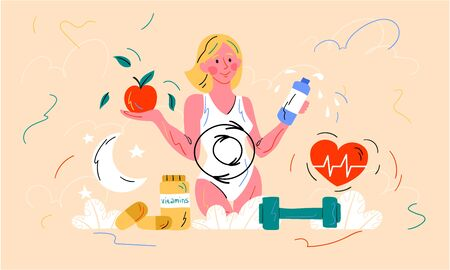 Healthy diet and metabolism concept with a young woman holding a bottle of water and tomato above a heart symbol, weights and dietary supplements, colored vector illustration Illustration
