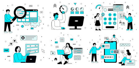 Set of computer programming scenes in blue and black showing software technicians performing various tasks on digital devices, colored vector illustration