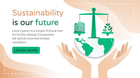 Sustainability Is Our Future concept with hands cupping a green planet and scales with city buildings and plants with copyspace for text, colored vector illustration 向量圖像