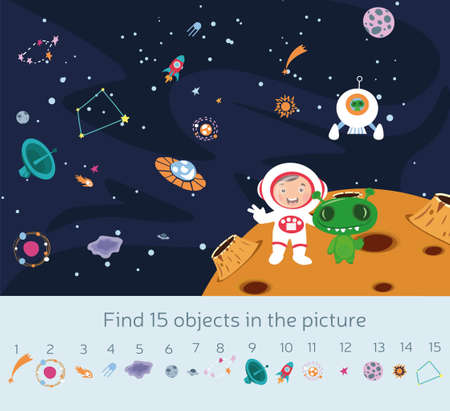 Kids picture puzzle with planets and spacecraft in outer space and an astronaut and alien with 15 objects below to be found in the picture, colored vector illustration