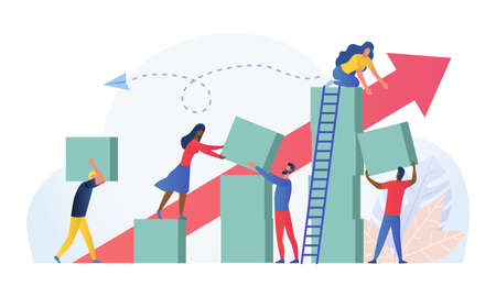 Composition with group of multiracial employees, managers or office workers moving boxes to assemble towers. Concept of teamwork, team building and building successful business. Vector illustration.