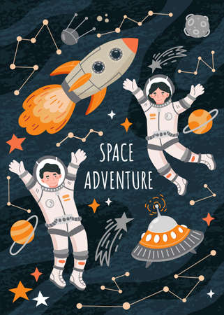 Space adventure poster with astronauts, spaceships and rockets on a sky with constellations, colored vector illustration