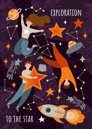 Space Exploration poster design with young people, stars, a rocket and the constellations, colored vector illustration