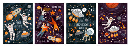 Set of four Space Exploration poster designs with rockets, spaceships, aliens, astronauts and the constellations with assorted text, colored vector illustration