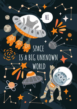 Space Is a Big Unknown World poster design with friendly aliens, spacecrafts, and stars around central text, colored vector illustration