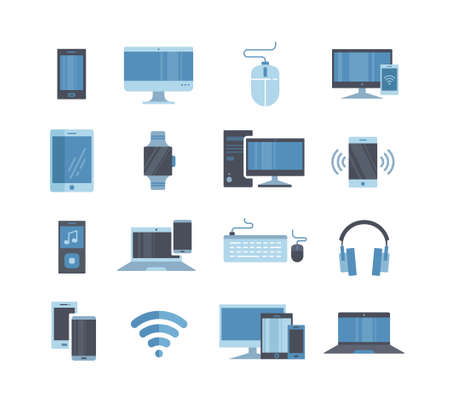 Large collection of blue toned digital devices Vector Illustration
