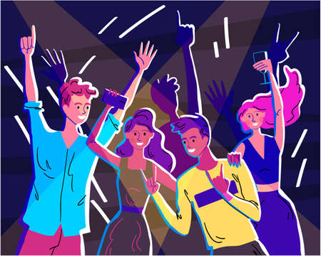 Happy crowd of young people is having fun at a disco or party Illusztráció
