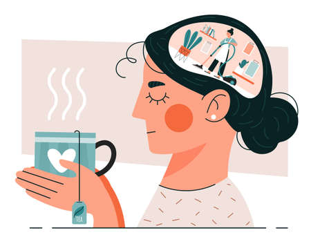 Woman having Cleansing Thoughts holding a cup of herbal tea as she meditates with a scene of a housewife vacuuming in her brain, colored vector illustration