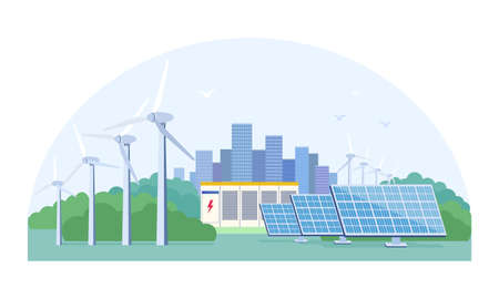 Renewable energy concept with photovoltaic solar panels and wind turbines on the outskirts of a city, colored vector illustration