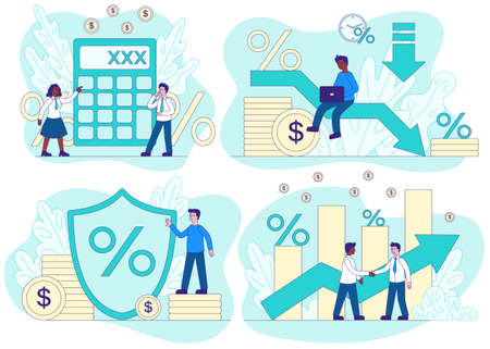 Credit concept with 4 different financial and business scenes showing percentages, statistical performance and calculations and accountancy, colored vector illustration