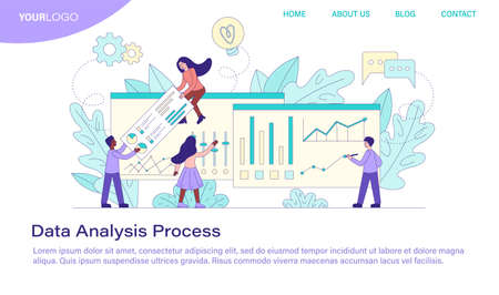 Data Analysis Process showing a diverse business team working with statistical graphs and charts, colored vector illustration Illusztráció