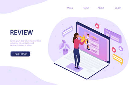 Online review concept with woman doing rating Illustration