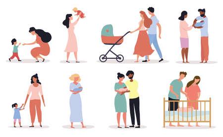 Eight different scenes depicting Motherhood