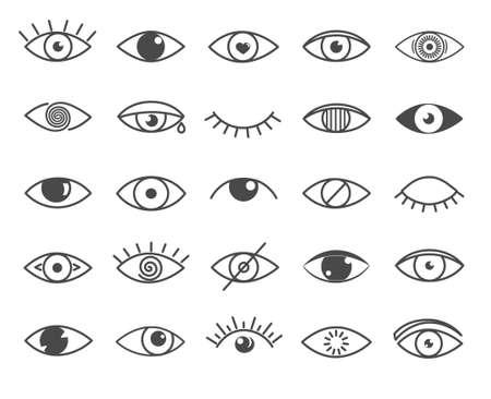 Set of black and white outline eye icons Ilustrace