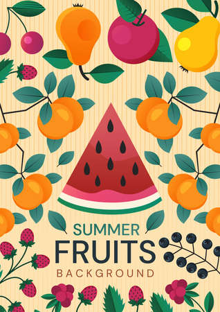 Colorful poster design of healthy Summer Fruit