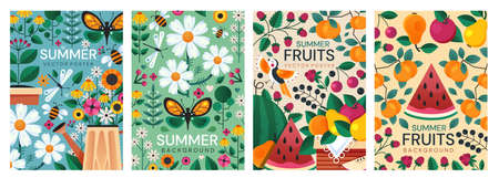 Four different colorful summer poster designs