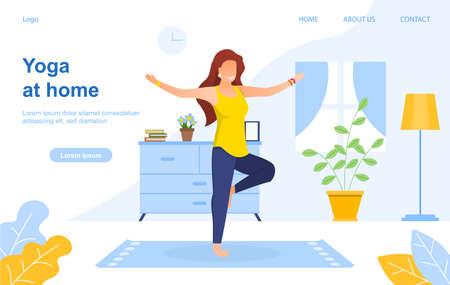 Yoga indoors. Flat vector illustration