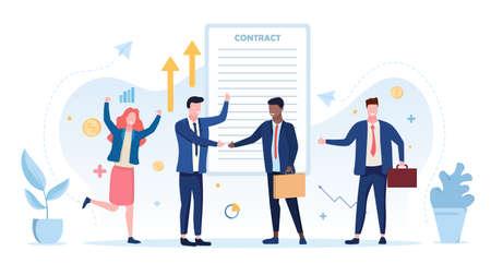 Bussines Contract Conclusion Ilustrace
